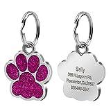 Etiqueta gravada personalizada do número de telefone do cão & do gato etiqueta da identificação do animal de estimação da pata do brilho-Pink-Free size
