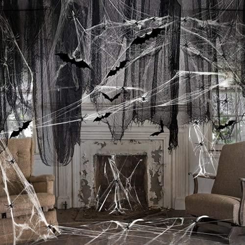 Wishstar Halloween Spinnennetz Deko Set, Spinnenweben Dekoration, Schwarz Spider Web 150 x 300 cm mit 60g Weiß Spinnenbaumwolle 60 Spinnen und 12 Fledermäuse für Halloween Party Deko