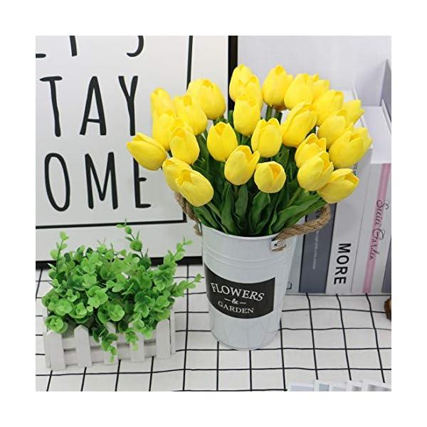 Olrla 12 Piezas de Tulipanes Rojos Artificiales, Ramo de Boda Nupcial de Tacto Real de Flores de imitación para…