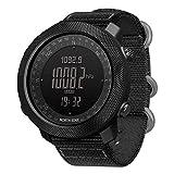 ZJM Smartwatch Sportivo da Uomo, Smartwatch Tattico Militare Impermeabile 5ATM con Bussola Retroilluminata A LED, Contapassi/Altimetro/Barometro/Termometro/Rilevamento della Direzione,Nero