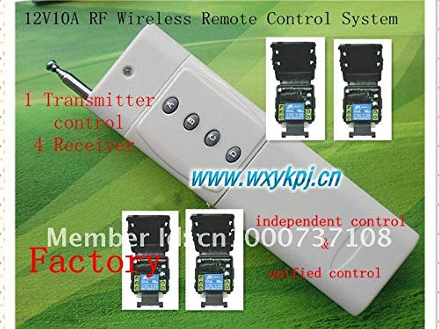Long Distance 3000m 12V 1CH Radio Controller RF Wireless Remote Control Switch Wireless Switch System 4receiver&Transmitter