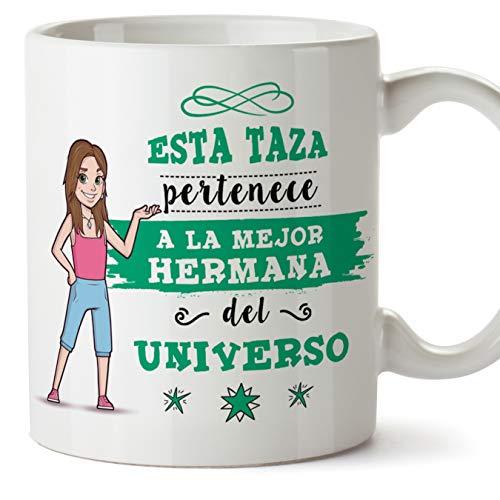 MUGFFINS Taza Hermana - Esta Taza Pertenece a la Mejor Hermana del Universo - Taza Desayuno/Idea Regalo Cumpleaños para Hermanitas. Cerámica 350 mL