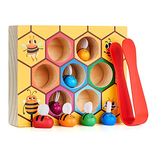 Lewo Fine Motor Skills Toy Clamp Bee to hive Matching Game