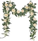 U'Artlines Juego de 2 (4,0m en Total) Guirnalda de Rosas Artificiales Flores Colgantes Guirnalda Flores y Plantas Artificiales para la Decoración del Jardín de la Boda del Hotel(Champán)