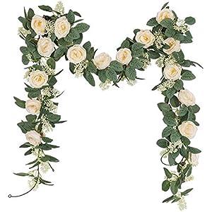 U'Artlines Juego de 2 (4,0m en Total) Guirnalda de Rosas Artificiales Flores Colgantes Guirnalda Flores y Plantas…