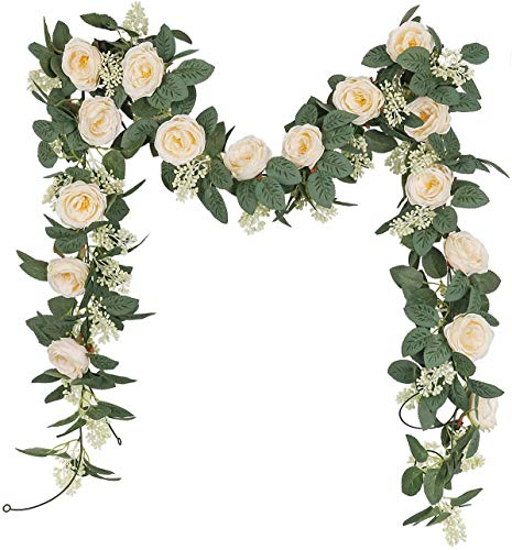 U'Artlines 2PCS(13FT) Fake Rose Vine Garland Artificial Flowers Plants for Hotel Wedding Home Party Garden Craft Art Decor(Champagne)