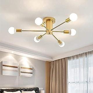 Plafonnier Industriel Vintage, 6-Lumières Lampe Plafond Moderne, Luminaire Plafonnier E27 Base, Lustre Suspension en Metal...