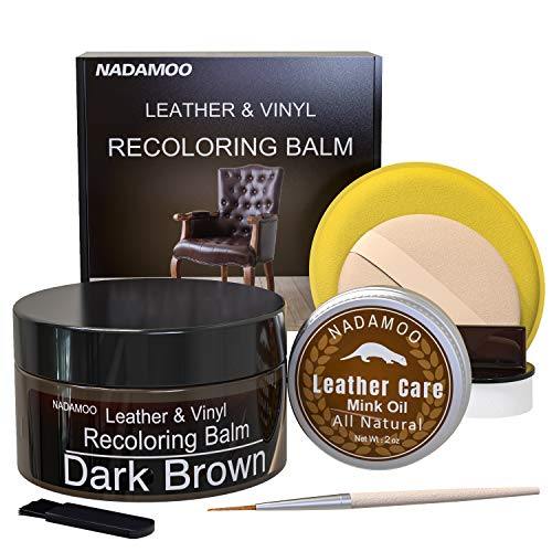 NADAMOO Dark Brown Leather Recoloring Balm with Mink Oil Leather Conditioner, Leather Repair Kits...