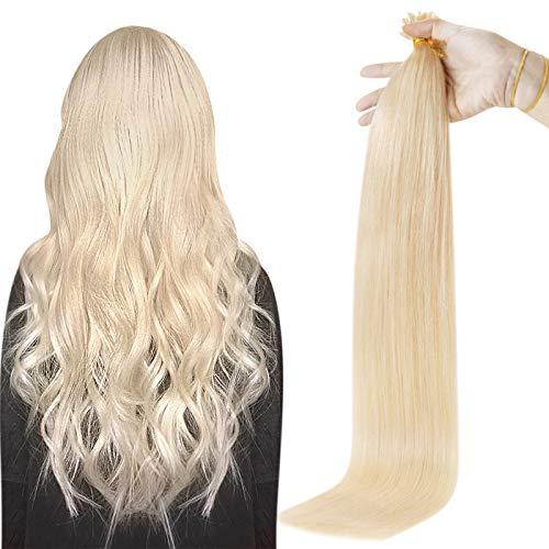 Fshine U Tip Extensions Blonde 14 Inch U Tip Hair Extensions Color 60 Fusion Extensions Human Hair 0.8 Gram Per Strand 40 Gram Pre Bonded Remy Hair