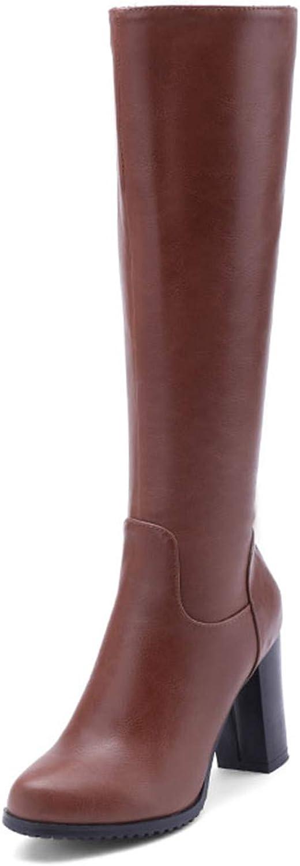 Leroyca Knee High Women Boots Round Toe Pu Short Plush Footwear High Heels Female Boots Zip shoes Women