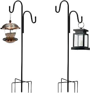 REWOSAL 48 inch Outdoor Shepherd Hook with 5 Prong Base, Double Hook Garden Hanging Stake for Bird Feeder Solar Light Plant Hanger Wedding Decor