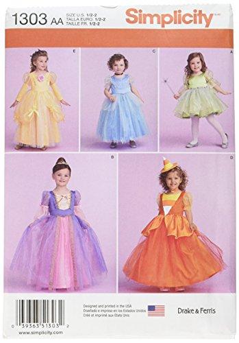 Simplicity 1303 Girl's Halloween Costume Princess Dress Sewing Pattern, Sizes 1/2-2
