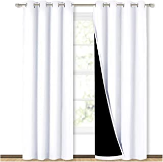 "NICETOWN 100% Blackout Window Curtain Panels, Heat and Full Light Blocking Drapes with Black Liner for Nursery, 84 Inches Drop Thermal Insulated Draperies (White, 2 Pieces, 52"" Wide Each Panel)"