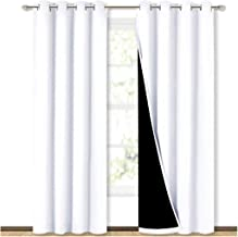 NICETOWN 100% Blackout Window Curtain Panels, Heat and Full Light Blocking Drapes with Black Liner for Nursery, 84 inches ...