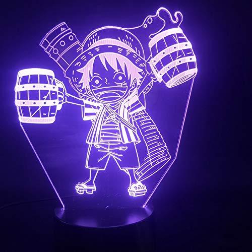 3D Lampe Cartoon Japanische Manga One Piece Ruffy Trinken der Wecker Basis Atmosphäre USB LED Nachtlicht Lampe