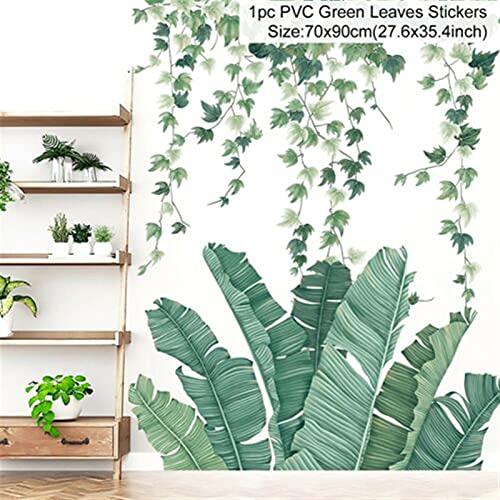 ZZLLFF Zerolife nórdico Verde Vid Vid Impresa Pegatinas de Pared for Sala de Estar Dormitorio sofá Fondo Pared decoración Tropical Hojas Vinilo (Color : 10103)
