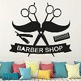 Ajcwhml Personnalisé Salon de Coiffure Homme Salon barbier Sticker Mural pour vitrine Coupe de Cheveux Barbe Visage Outils Logo Salon Autocollant décor 58X51CM