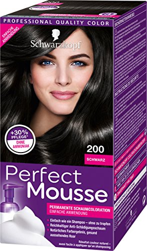 Schwarzkopf Perfect Mousse Lot de 3 colorations mousses permanentes Noir 200 Niveau 3 (3 x 93 ml)