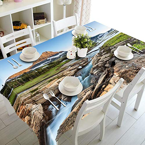 XXDD Mantel de patrón de Cascada de Paisaje 3D Engrosado Mantel de Comedor de Cocina Mantel Rectangular Cubierta de Mesa de Comedor A5 140x160cm