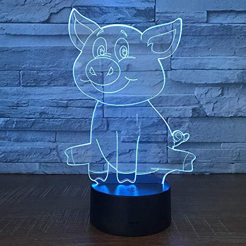 YOUPING 3D Ilusión Lámpara Led Luz de Noche al por mayor Cerdo Creativo Dormitorio Mesita de Noche Cama USB Alimentación USB Niños Precioso 7 Cambio de Color