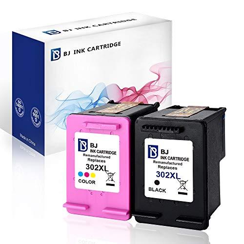 BJ Wiederaufbereitete Tintenpatrone für HP 302XL (Schwarz,Farbe) für HP DeskJet 1110 2130 2134 3630 Envy 4520 4521 4522 Officejet 3830 3834 4650 4651 Drucker