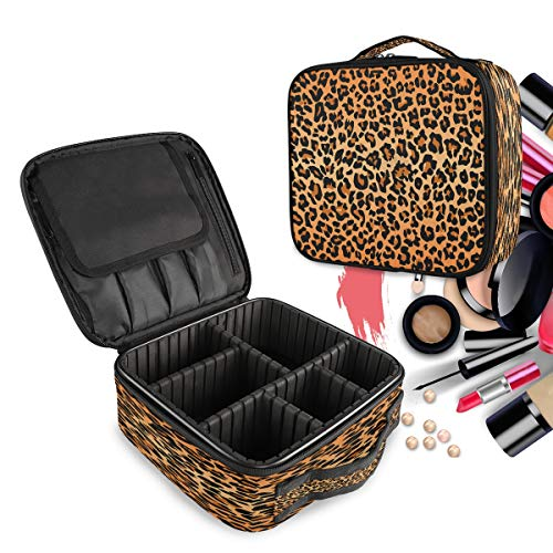 Travel Makeup Case Best Leopard Print Cosmetic Bag Box Professional Train Case Large Make Up Storage Organizer with Adjustable Dividers & Brush Section for Women Girls Hard Shell