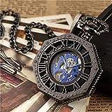 Reloj De Bolsillo con Cadena Reloj De Bolsillo Hexagonal Único De Lujo con Números Romanos Steampunk Acero Completo Mecánico De Cuerda Manual Oro Negro