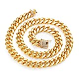DX.OPK Men's 18K Gold Curb Cuban Chain Necklace Ultra Thick and Wide Fashion Jewelry (8/10 mm Width),10mm,55cm