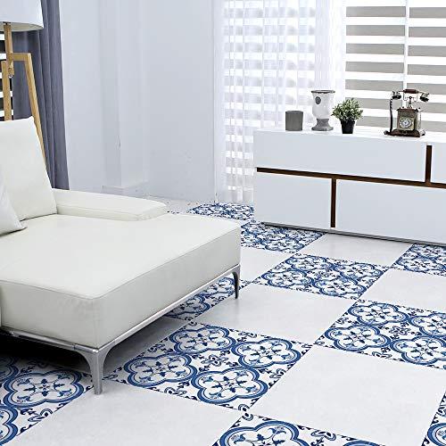 EXTSUD 4 stuks tegelstickers PVC tegelfolie mozaïektegels folie sticker vloersticker zelfklevende DIY tegelafbeeldingen voor badkamer keuken, tegels, wand, decoratie 30x30cm 30x30 cm portugiesischen stil Portugees-stijl