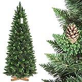 FairyTrees Artificiale Albero di Natale Slim, Pino Verde Naturale, Materiale PVC, Vere pigne, incl. Supporto in Legno, 180cm, FT08-180