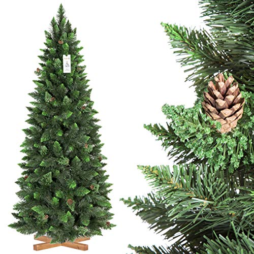 FairyTrees Artificiale Albero di Natale Slim, Pino Verde Naturale, Materiale PVC, Vere pigne, incl. Supporto in Legno, 180cm, FT08-180
