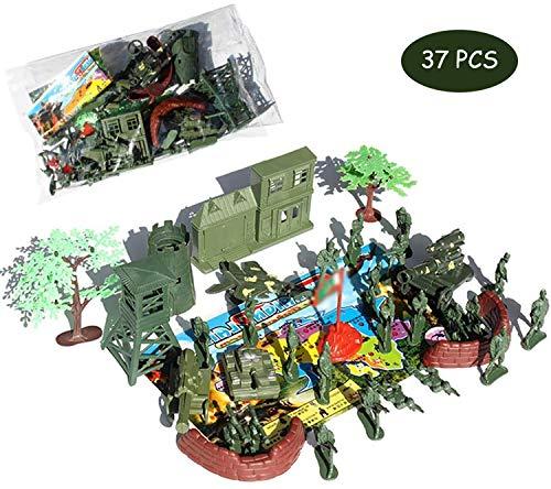 Militär Spielzeug Mit Spielkarte, 37 Stück Kunststoff-Spielzeug-Armee Anzug Militär Figuren Mit Einem Gehalt Mit Einem Gehalt Militär Figuren Wie Flugzeuge, Sentry Box, Gun Turm