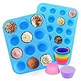 FJYDM Juego De Moldes De Silicona para Muffins, 12 Tazas Y Mini 24 Tazas, Moldes para Hornear Cupcakes, Sin BPA, Antiadherentes, Resistentes Al Calor, De Silicona De Grado Alimenticio