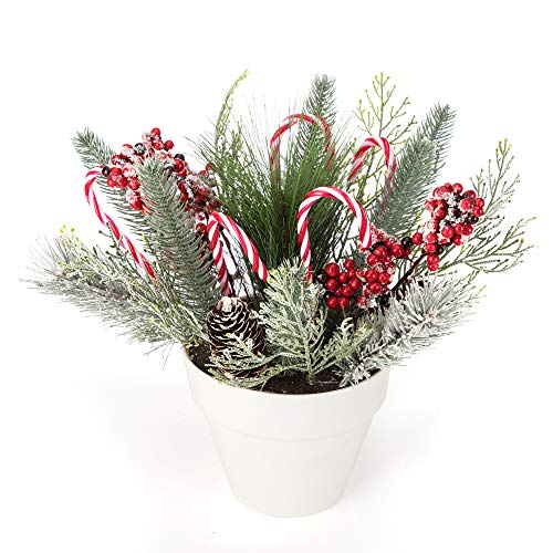 iPEGTOP 14.2 inches Holiday Tree Christmas Centerpiece Potted Tabletop Tree Artificial Plants, Christmas Crutch Plastic Candy Cane Fake Greenery Holly Pinecone Red Berries for Home Office Decor