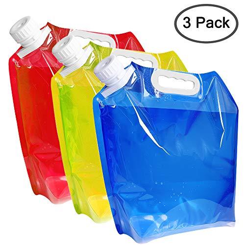 maxin Contenitore per Acqua Pieghevole da 5 Litri, Porta Acqua in plastica BPA, Borsa per Acqua Pieghevole Set di 3 per Escursioni in Campeggio.