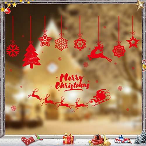 Sunshine smile Natale Vetrofanie, Fai da Te Finestra Sticke,Vetrofanie PVC, Neve Natale Aggrappa,Fiocchi di Neve Invernali Decorativi,Porta Finestra Fai-da-Te Decorazioni,Adesivi Natalizi (2)