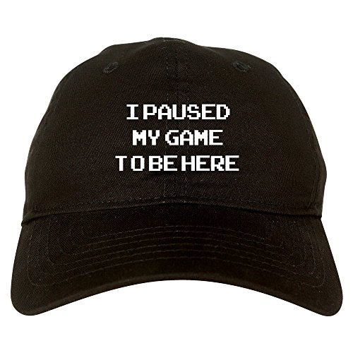 I Paused My Game to Be Here Gamer Mens Dad Hat Baseball Cap Black
