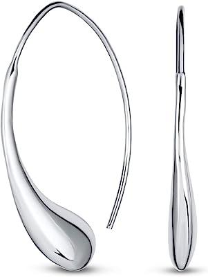 Personalizza orecchini threader a goccia di pioggia lucida lucida e lucida minimalista per donne argento sterling 1,25 1,5 pollici