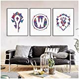ONEAM ART/World of Warcraft Painting Watercolor Canvas Background Art Print Wall Picture Living Room Restaurant Corridor Decoration 40x60cmx3 piece NoFramed