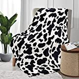 Fleece Cow Print Blanket Black and White Bed Cow Throws Soft Couth Sofa Cozy Warm Small Blankets Plush Gift for Daughter Mom, Bedroom Decor 40x50 inch