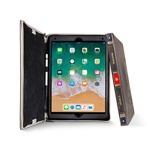 Twelve South BookBook für iPad Pro (10,5 Zoll) , Gebundene Ledertasche, Pencil Holster und Staffelei für iPad Pro + Apple Pencil (Braun)