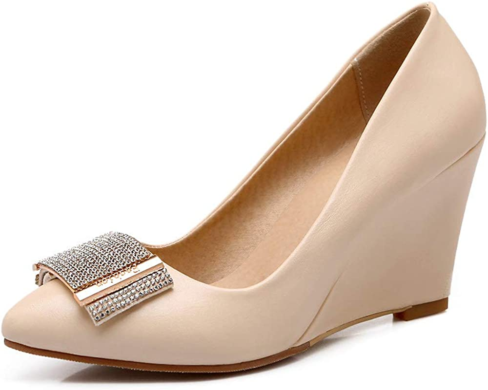 Women's Fashion Pointed Directly managed store Toe Wedges with Heel 8 Slip-On Year-end annual account High