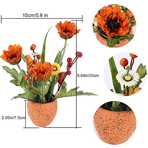 XYXCMOR Artificial Sunflowers Pot Fake Silk Flowers Fall Flower Centerpieces Sunflower Bouquet in Vase for Office Table Home Wedding Party Windowsill Décor