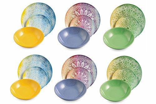 VILLA D'ESTE Canvas Vajilla Elegante, Porcelana, Multicolor