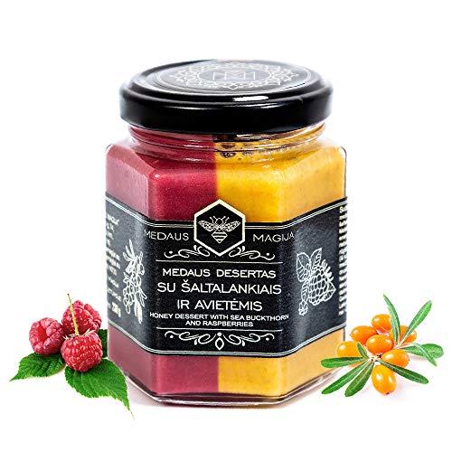 Roher Honig mit Sanddorn & Himbeeren - Bio Honey - Gesund wie Manuka Honig aus Neuseeland - Echter purer Blütenhonig