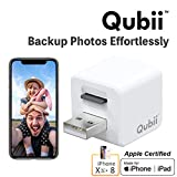 Qubii Photo Storage Device for iPhone & iPad, Auto Backup Photos & Videos, Photo Stick for iPhone, Flash Drive for iPhone PhotosmicroSD Card Not Included- White