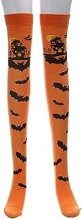 DaySiswong Women's Girls Halloween Pumpkins Bats Novelty Socks Knee High Stocking for Halloween Cosplay Party Costumes