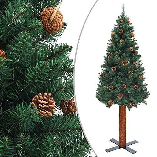 Säsongsbetonade högtidsdekorationer smal julgran med äkta trä och koner grön 180 cm PVC