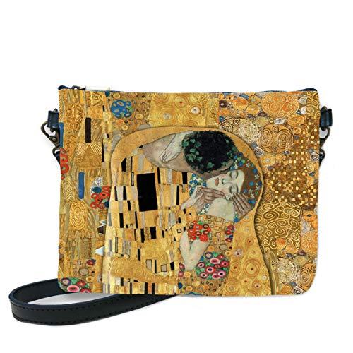Les Trésors de Lily [Q6664 - Bolso de hombro hecho a mano 'Gustav Klimt' (El Beso) - 24x18 cm.