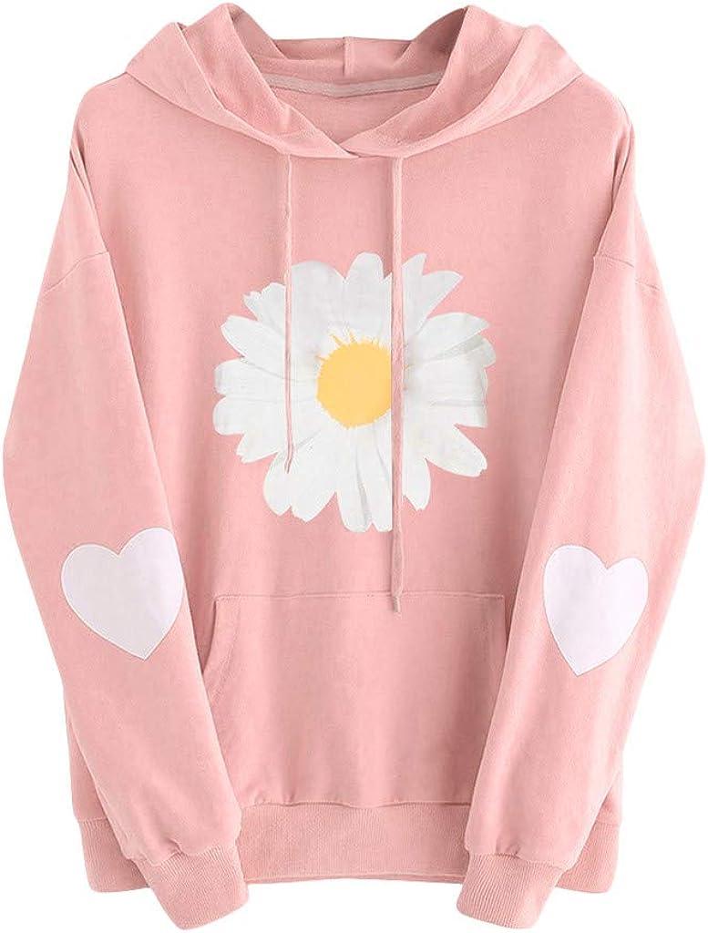 Tupenty Womens Hooded Sweatshirt Casual Long Sleeve Floral Print Pocket Drawstring Sweatshirts Hoodies Pullover Shirts
